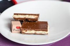Pedazos de chocolate Fotos de archivo
