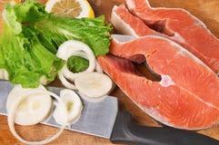 Pedazos de color salmón Foto de archivo