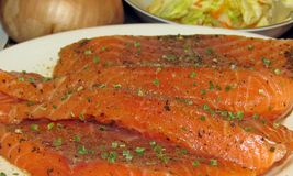 Pedazos de color salmón crudos Imágenes de archivo libres de regalías