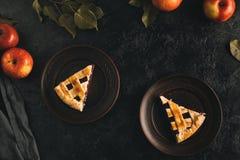 Pedazos de empanada de manzana en las placas fotografía de archivo libre de regalías