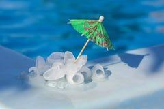 Pedazos de hielo cerca de la piscina Foto de archivo libre de regalías
