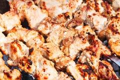 Pedazos de kebabs en los pinchos en gril fotos de archivo libres de regalías