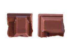 Pedazos de la barra de chocolate Fotos de archivo
