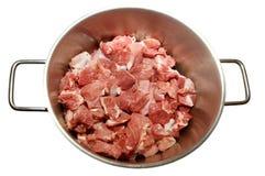Pedazos de la carne en una cacerola Fotografía de archivo