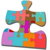 Pedazos de los rompecabezas dentro de un rompecabezas de desconcierto colorido Imagen de archivo libre de regalías