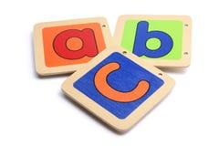 Pedazos de madera del ABC Fotografía de archivo