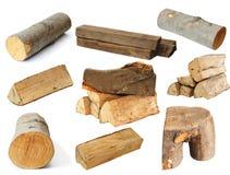 Pedazos de madera del fuego sobre blanco Fotografía de archivo libre de regalías