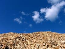 Pedazos de madera del pajote y cielo azul imagenes de archivo