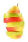Pedazos de manzana y de pera Foto de archivo libre de regalías