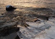 Pedazos de masas de hielo flotante de hielo en la orilla de un lago de congelación Fotografía de archivo libre de regalías
