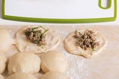 Pedazos de pasta con el relleno de la carne picadita, preparados para el bak Imagenes de archivo
