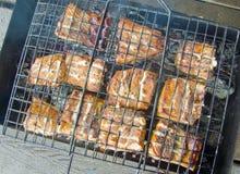 Pedazos de pescados asados a la parilla en la parrilla Fotos de archivo