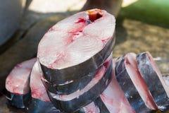 Pedazos de pescados de la caballa de rey Fotos de archivo libres de regalías
