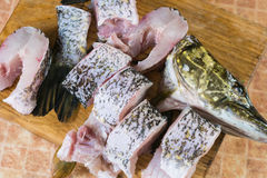 Pedazos de pescados frescos, lucio Foto de archivo