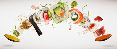 Pedazos de sushi japonés delicioso congelado en el aire libre illustration