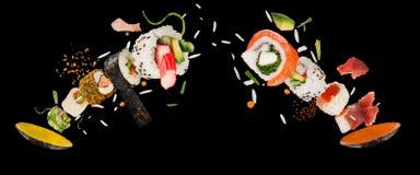 Pedazos de sushi japonés delicioso congelado en el aire ilustración del vector