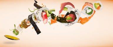 Pedazos de sushi japonés delicioso congelado en el aire stock de ilustración