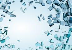 Pedazos de vidrio azul demolido o roto libre illustration