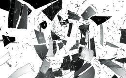 Pedazos de vidrio destructed o roto aislado ilustración del vector