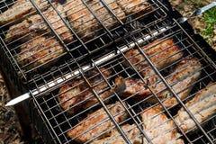 Pedazos del cerdo cocinados en el brasero fotografía de archivo libre de regalías