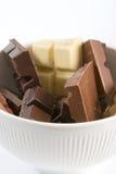 Pedazos del chocolate Imagen de archivo libre de regalías