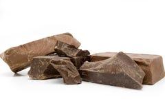 Pedazos del chocolate Foto de archivo