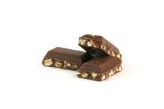 Pedazos del chocolate de la almendra Fotografía de archivo