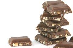 Pedazos del chocolate del primer Fotos de archivo