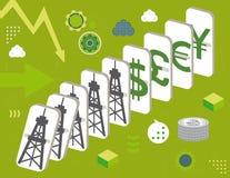 Pedazos del dominó de aceite y de dinero stock de ilustración