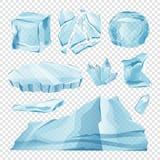 Pedazos del hielo en el fondo transparente para el dinero Fotografía de archivo