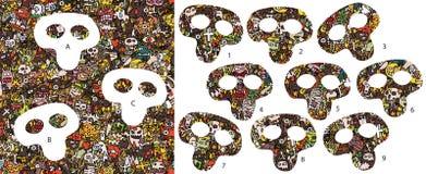 Pedazos del partido de Halloween, juego visual ¡Solución en capa ocultada! Imagen de archivo libre de regalías