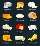 Pedazos del queso de comida del parmesano y de la mozzarella ilustración del vector