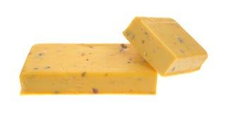 Pedazos del queso del salami del Cheddar Fotografía de archivo