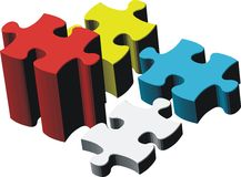 pedazos del rompecabezas 3d Imagen de archivo libre de regalías