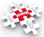 Pedazos del rompecabezas de la ejecución de la puesta en práctica del plan de las táctica de la estrategia Imágenes de archivo libres de regalías