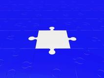 Pedazos del rompecabezas en azul y blanco Fotografía de archivo