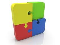 Pedazos del rompecabezas en diversos colores en blanco Fotos de archivo
