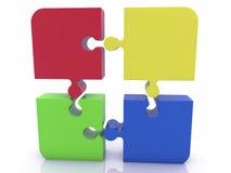 Pedazos del rompecabezas en diversos colores en blanco Fotografía de archivo libre de regalías