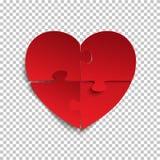Pedazos del rompecabezas en forma de corazón rojo Foto de archivo libre de regalías