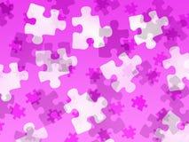 Pedazos del rompecabezas en una pendiente rosada ilustración del vector