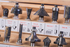 Pedazos del router de Roundover para la carpintería foto de archivo libre de regalías
