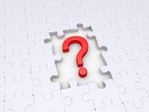 Pedazos del signo y del rompecabezas de interrogación Imágenes de archivo libres de regalías