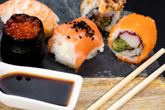 Pedazos del sushi Imágenes de archivo libres de regalías