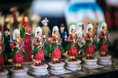 Pedazos del tablero de ajedrez con el ejército del otomano Imagen de archivo