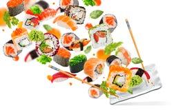 Pedazos deliciosos de sushi Imagenes de archivo