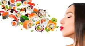 Pedazos deliciosos de sushi Fotografía de archivo