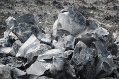 Pedazos grandes de la obsidiana Foto de archivo