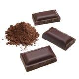 Pedazos oscuros del chocolate imágenes de archivo libres de regalías