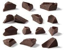 Pedazos oscuros del chocolate Foto de archivo libre de regalías