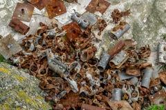 Pedazos oxidados del metal Fotos de archivo